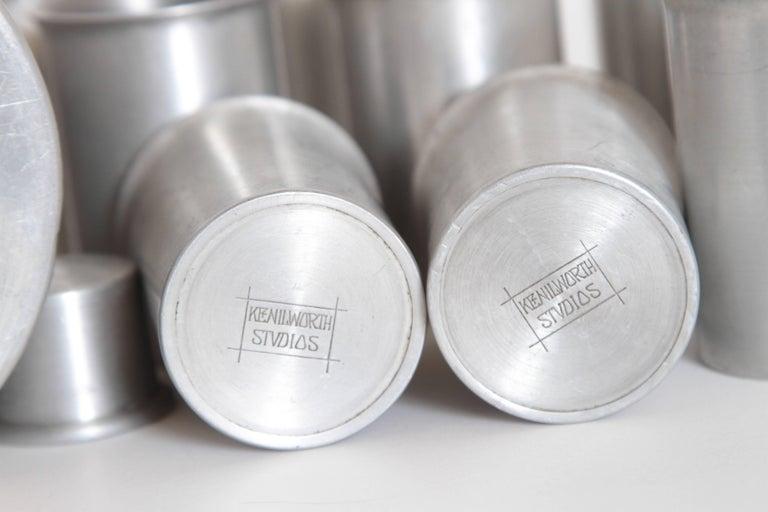 Machine Age Art Deco Kenilworth Studios Aluminum Cocktail Set For Sale 2