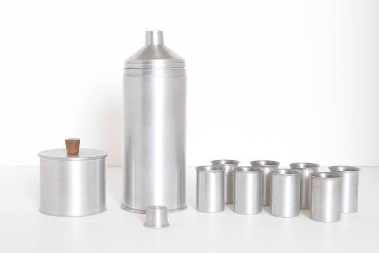 Spun Machine Age Art Deco Kenilworth Studios Aluminum Cocktail Set For Sale
