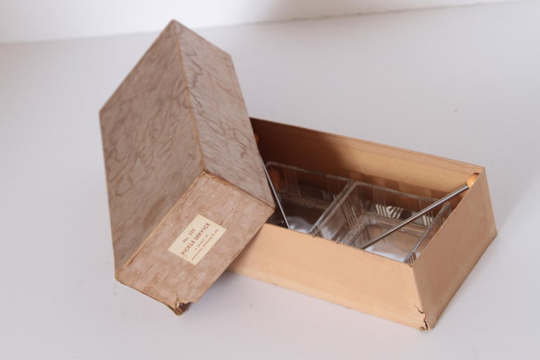 Machine Age Art Deco Manning Bowman Pickle Service Original Box Unused For Sale 5