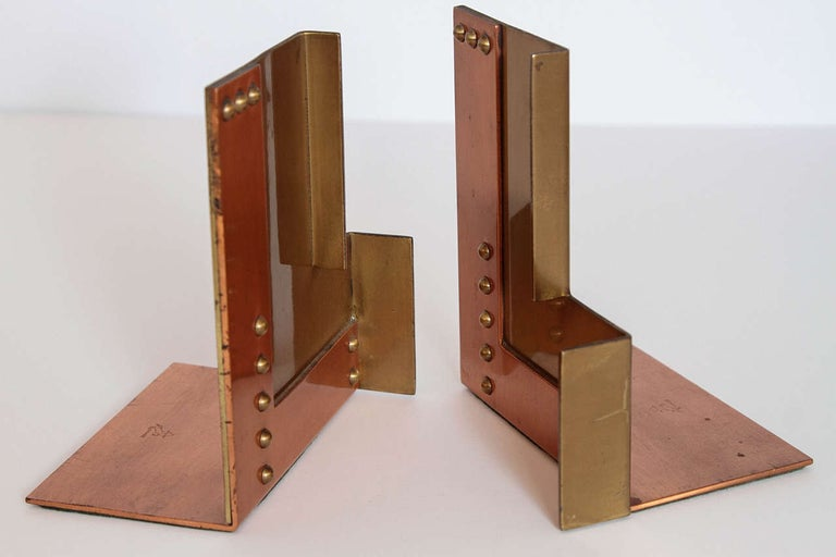 Machine Age Art Deco Walter Von Nessen for Chase Moderne bookends.