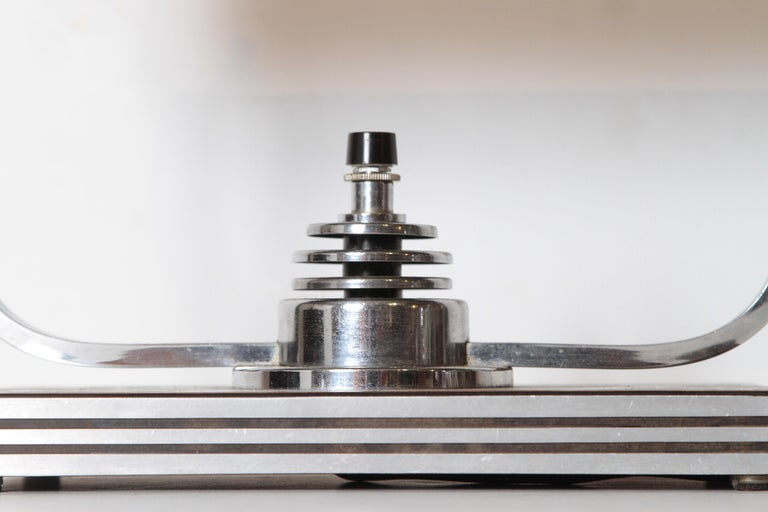 Aluminum Machine Age Art Deco Markel Table Lamp For Sale