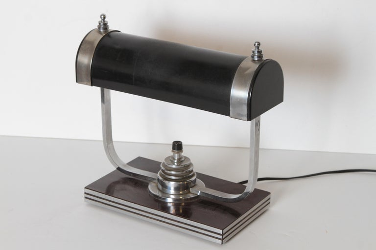 Enameled Machine Age Art Deco Markel Table Lamp For Sale