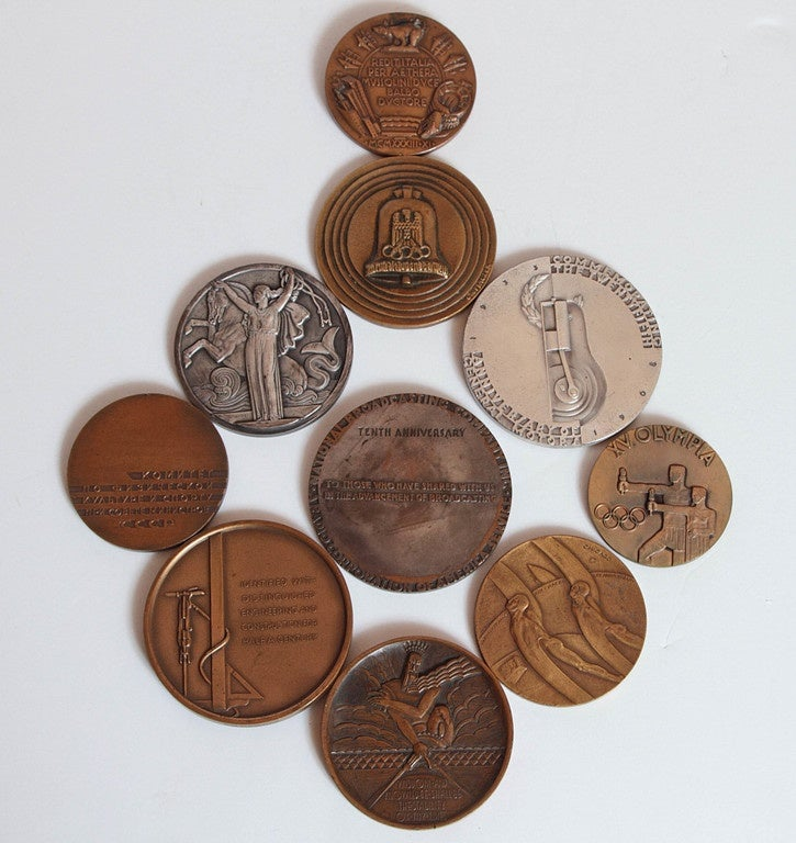 American Collection Original Iconic Mixed-Metal Art Deco Medallions For Sale