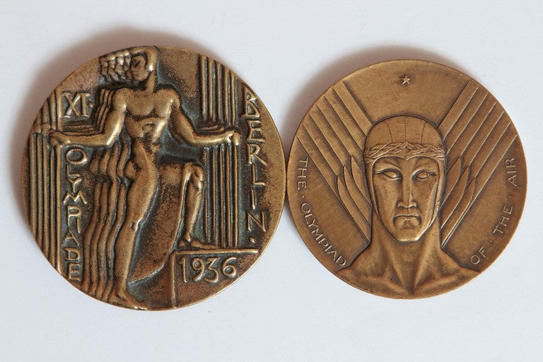 Collection Original Iconic Mixed-Metal Art Deco Medallions In Good Condition For Sale In Dallas, TX