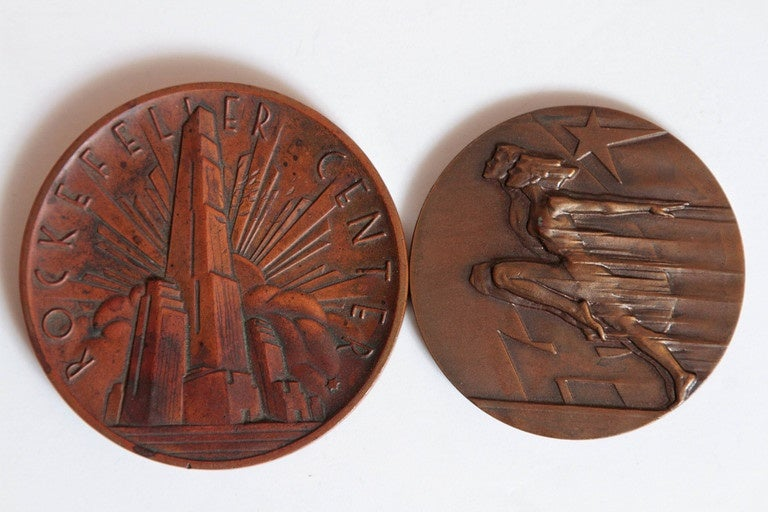Mid-20th Century Collection Original Iconic Mixed-Metal Art Deco Medallions For Sale