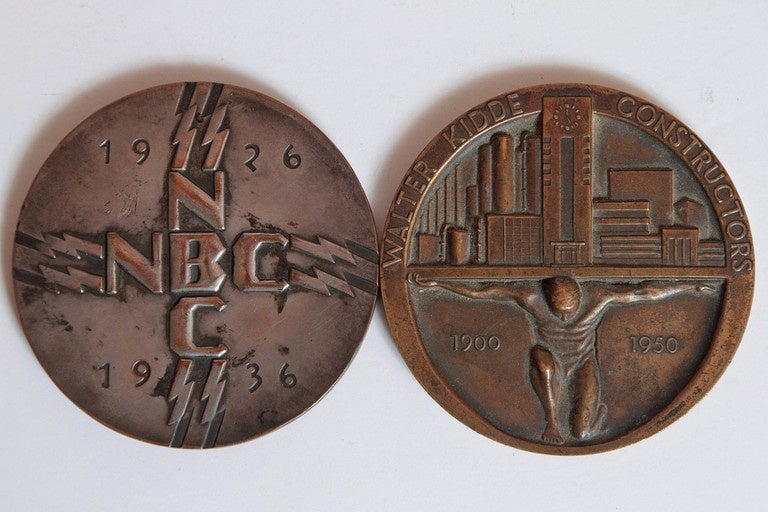 Collection Original Iconic Mixed-Metal Art Deco Medallions For Sale 3