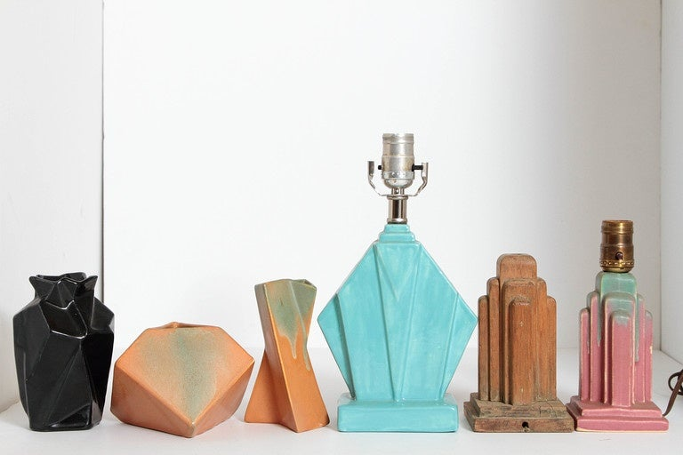 Two Rhombic lamp bases, plus rare third original Muncie wooden factory mold. Three vases. Very good original condition, please contact dealer directly with questions.
