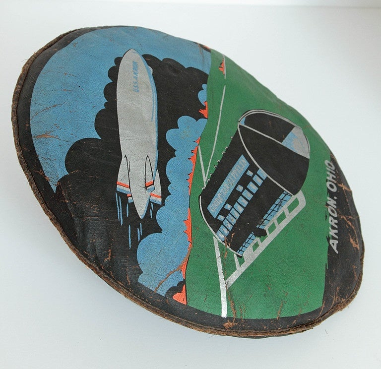 Industrial Rare U.S.S. Akron Goodyear Zeppelin Cushion in Art Deco Style For Sale