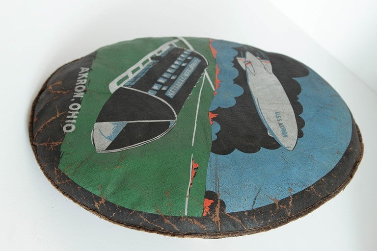 American Rare U.S.S. Akron Goodyear Zeppelin Cushion in Art Deco Style For Sale