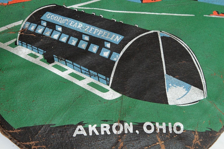 Mid-20th Century Rare U.S.S. Akron Goodyear Zeppelin Cushion in Art Deco Style For Sale