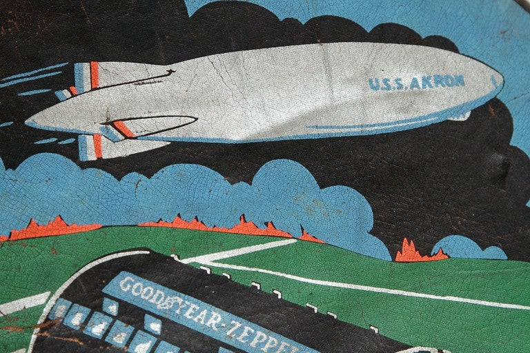 Rare U.S.S. Akron Goodyear Zeppelin Cushion in Art Deco Style For Sale 2