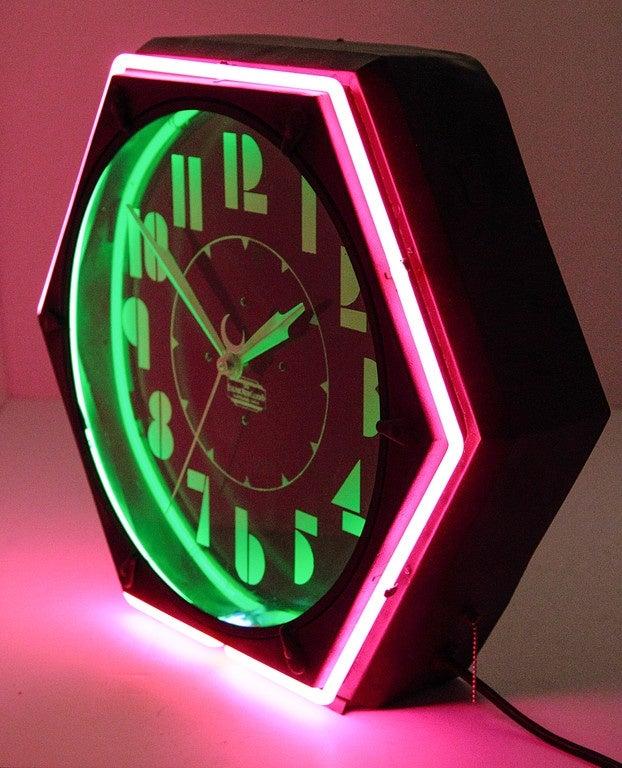 Cleveland Machine Age Hexagonal Art Deco Neon Clock With