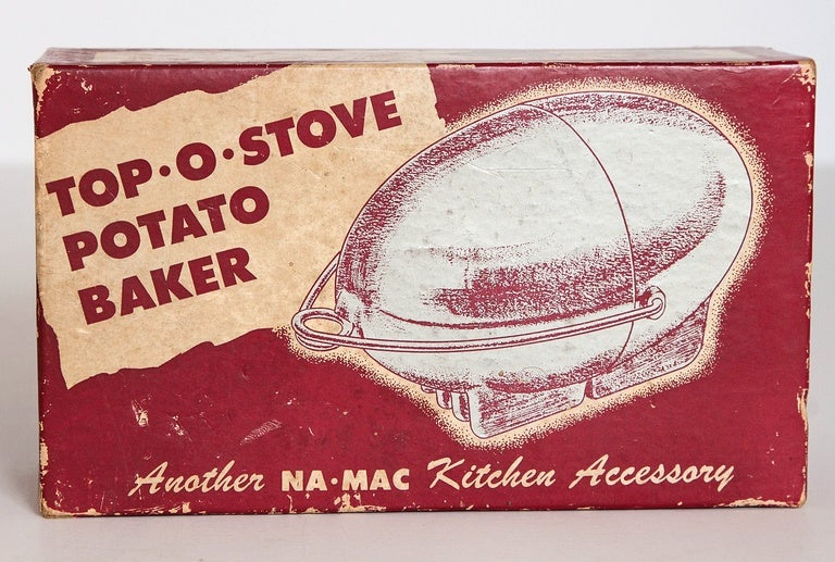 Art Deco Machine Age potato baker, Raymond Barton for Na - Mac, with original box potato baking magic.  Difficult to source with the original box and insert. One of the great functional American Industrial Design objects, super Streamline