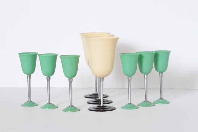 Machine Age Art Deco Nudawn Van Doren & Rideout Stemware set for National Silver, circa 1933.    Modernist  Streamline Industrial Design  Early set of six Machine Age cordials and three goblets in Nudawn pattern designed by Harold Van Doren and John
