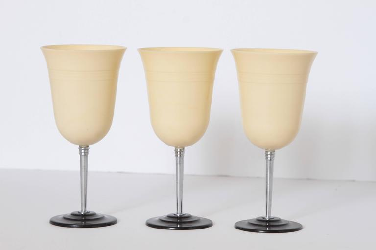 Mid-20th Century Machine Age Art Deco Nudawn Van Doren & Rideout Stemware Set for National Silver For Sale