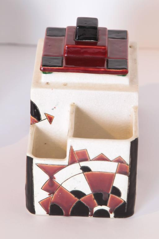 Art Deco Boch Freres Charles Catteau Belgian Cubist Keramis Ceramics, Desk Set For Sale 2