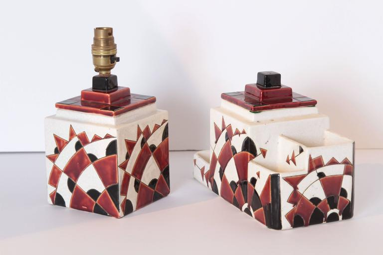 Art Deco Boch Freres Charles Catteau Belgian Cubist Keramis Ceramics, Desk Set For Sale 5