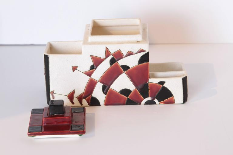 Art Deco Boch Freres Charles Catteau Belgian Cubist Keramis Ceramics, Desk Set For Sale 3
