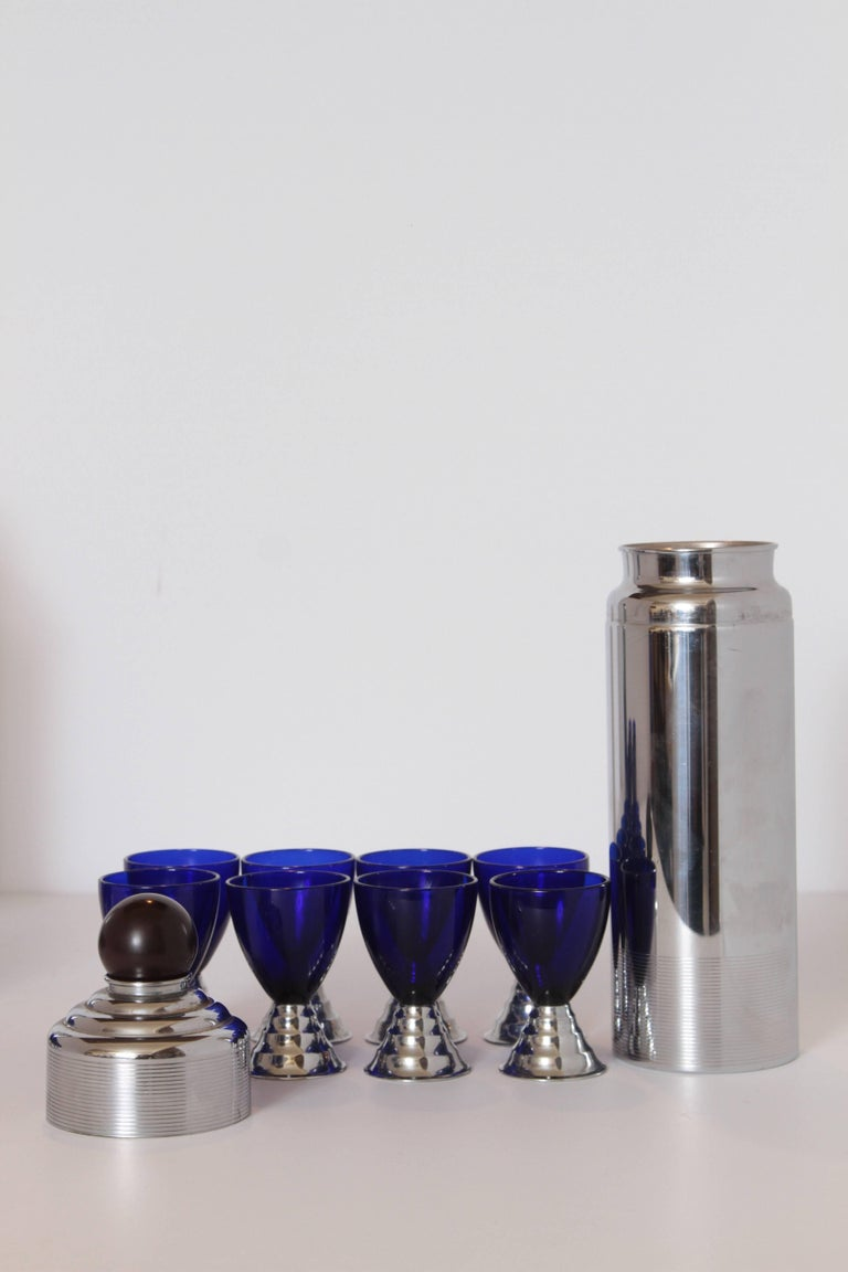 Glass Two Machine Age Art Deco Chase Chrome Blue Moon Cocktail Sets  For Sale