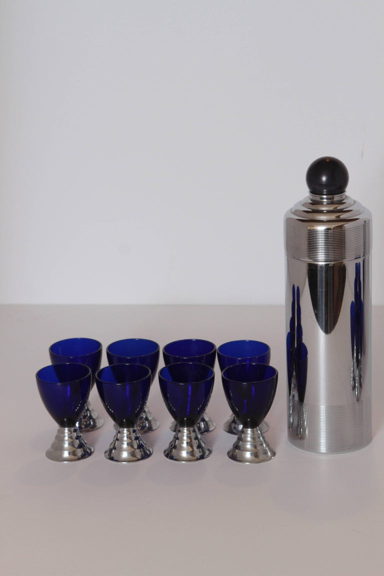 Two Machine Age Art Deco Chase Chrome Blue Moon Cocktail Sets  For Sale 2