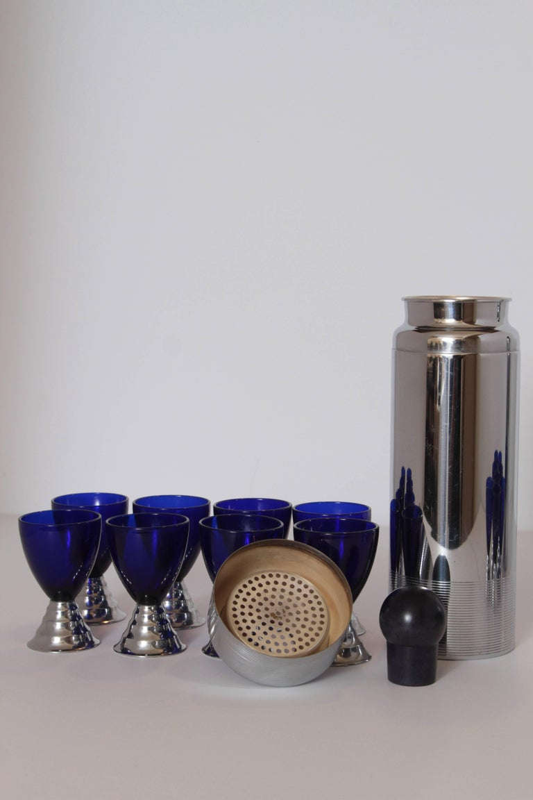 Two Machine Age Art Deco Chase Chrome Blue Moon Cocktail Sets  For Sale 1