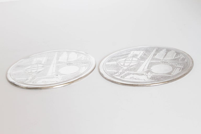 Machine Age Art Deco New York World's Fair Silver Plate Trivets by Reed & Barton For Sale 3