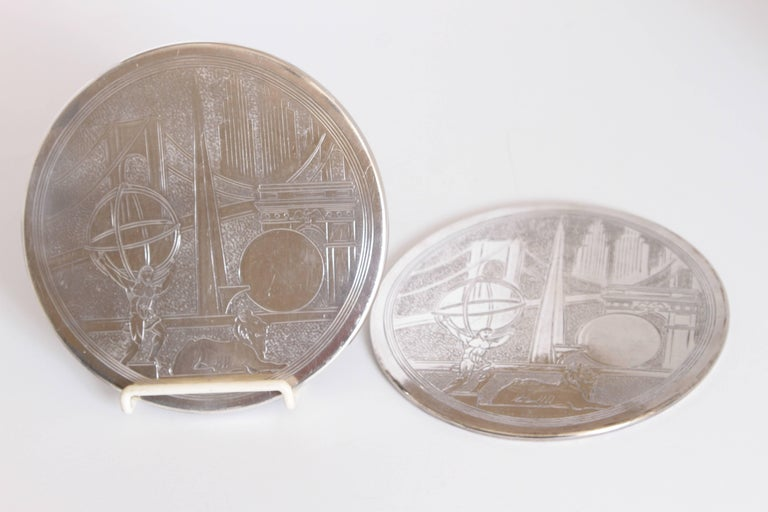 Mid-20th Century Machine Age Art Deco New York World's Fair Silver Plate Trivets by Reed & Barton For Sale
