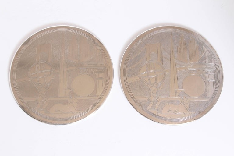 Machine Age Art Deco, New York World's fair silver plate trivets by Reed & Barton