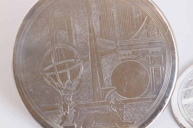 Machine Age Art Deco New York World's Fair Silver Plate Trivets by Reed & Barton For Sale 1