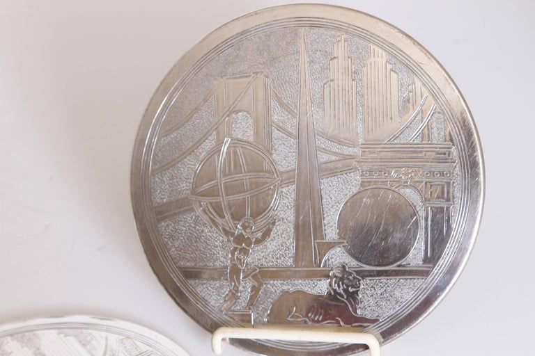 Machine Age Art Deco New York World's Fair Silver Plate Trivets by Reed & Barton In Good Condition For Sale In Dallas, TX