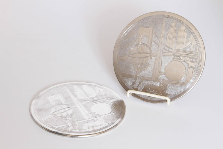 American Machine Age Art Deco New York World's Fair Silver Plate Trivets by Reed & Barton For Sale