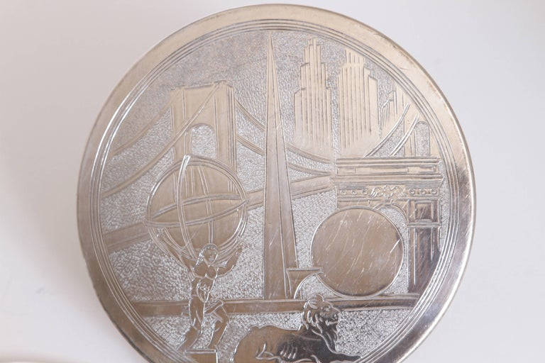 Plated Machine Age Art Deco New York World's Fair Silver Plate Trivets by Reed & Barton For Sale