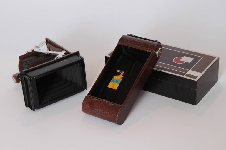Metal Machine Age Art Deco Walter Dorwin Teague Kodak Gift 1A Camera with Case For Sale