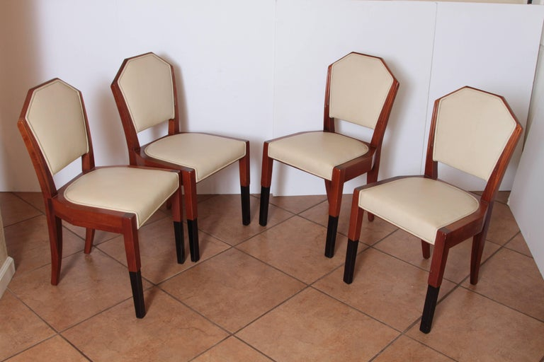 American Art Deco Dynamique Creations Johnson Furniture Co. Set of Four Side Chairs For Sale