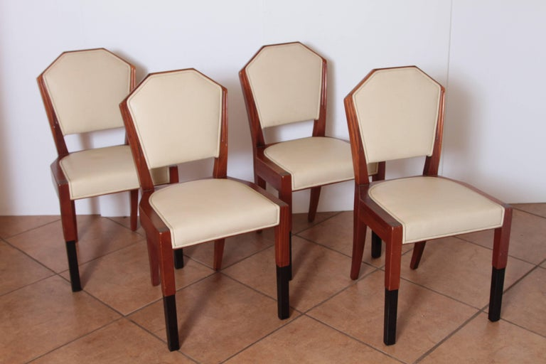 Art Deco Dynamique Creations set of four side chairs Johnson Furniture Co.  David Robertson Smith  Important Art Deco Dynamique Creations set of four side chairs for Johnson Handley Johnson. Design by David Robertson Smith for Johnson Furniture Co.,