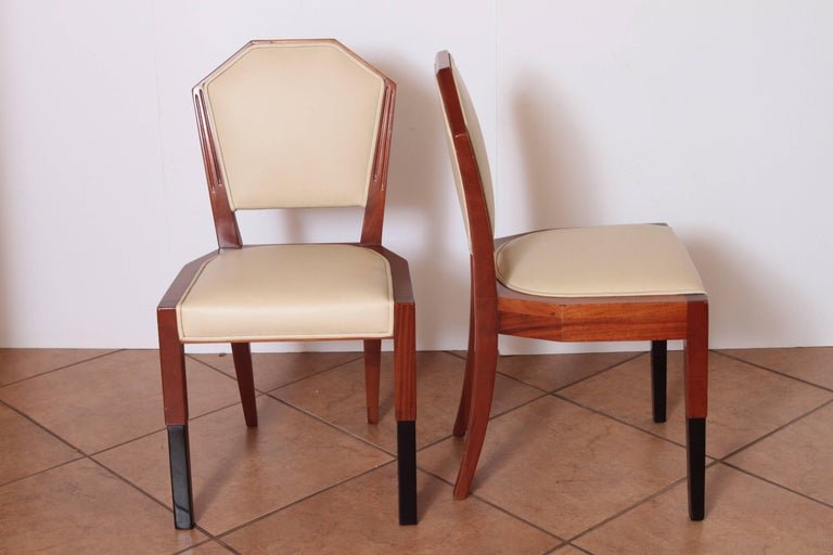 Art Deco Dynamique Creations Johnson Furniture Co. Set of Four Side Chairs In Good Condition For Sale In Dallas, TX