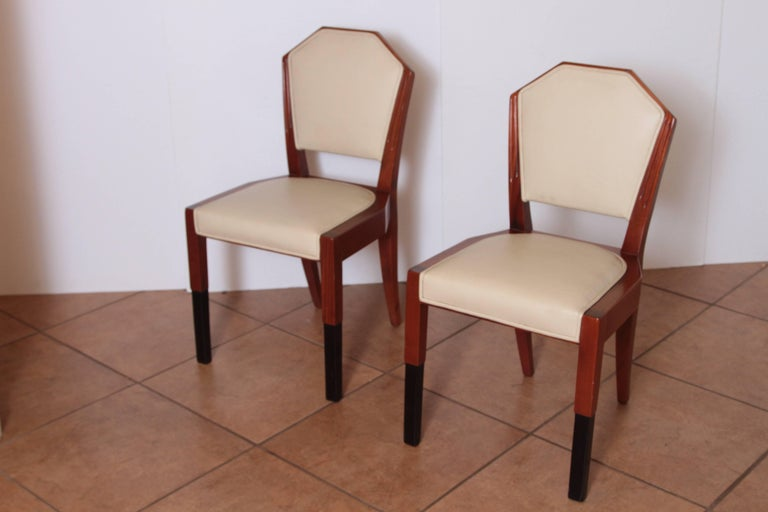 Lacquered Art Deco Dynamique Creations Johnson Furniture Co. Set of Four Side Chairs For Sale