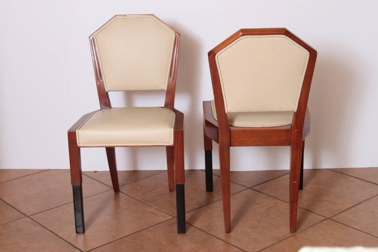 Wood Art Deco Dynamique Creations Johnson Furniture Co. Set of Four Side Chairs For Sale