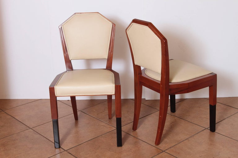 Mid-20th Century Art Deco Dynamique Creations Johnson Furniture Co. Set of Four Side Chairs For Sale