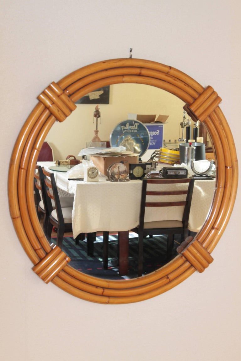 Large Art Deco streamline rattan triple - band wall mirror, manner of Paul Frankl   Streamlined Modernist  Nice large vintage example, with original patinated rattan finish. Excellent construction, a substantial mirror with stylish art deco frame