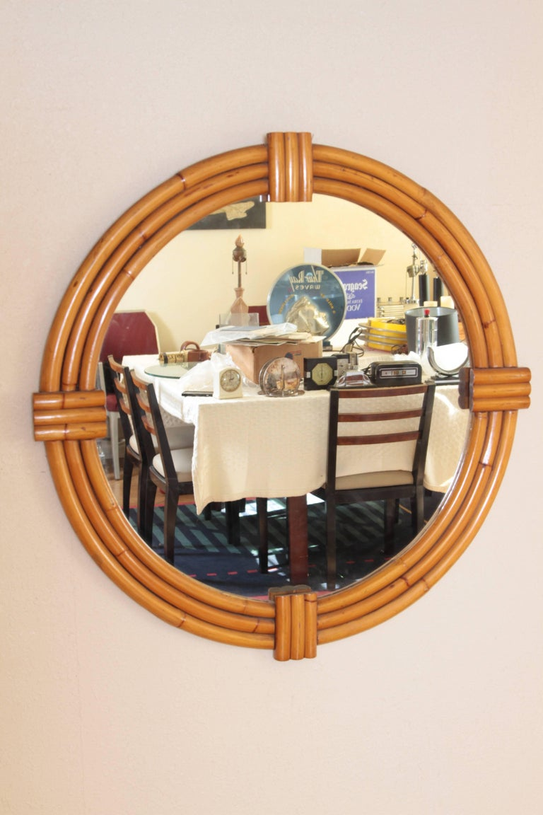 Art Deco Streamline Rattan Wall Mirror, Triple Band, Manner of Paul Frankl For Sale 3