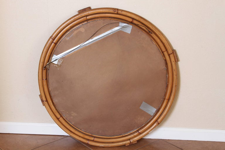 Art Deco Streamline Rattan Wall Mirror, Triple Band, Manner of Paul Frankl For Sale 2