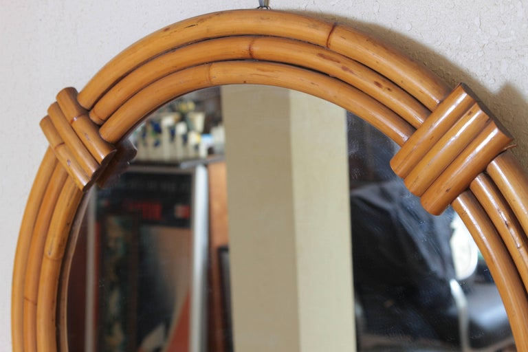 20th Century Art Deco Streamline Rattan Wall Mirror, Triple Band, Manner of Paul Frankl For Sale