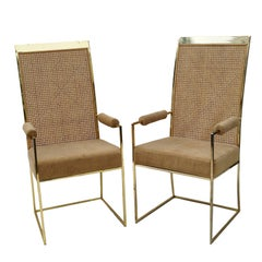 Milo Baughman for Thayer Coggin Brass Tone Cane Back Arm or Dining Chairs, Pair