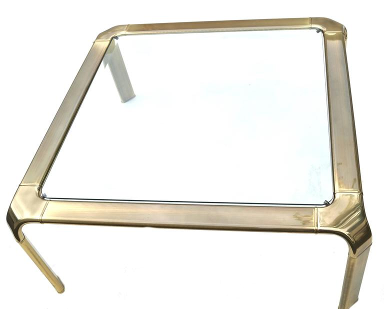 Mastercraft Modern Hollywood Regency Brass and Glass Coffee Cocktail Table 2