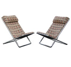 Pair of Ward Bennett Scissor Pillow Low Profile Highback Chairs