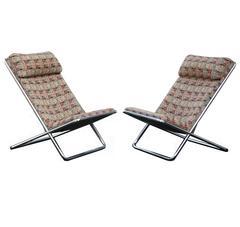 Pair of Ward Bennett Scissor Pillow Low Profile Highback Chairs