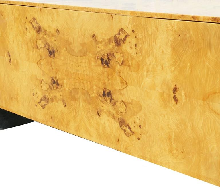 Pace Collection Burl Wood Credenza or Sideboard Steel Waterfall In Good Condition For Sale In Wayne, NJ
