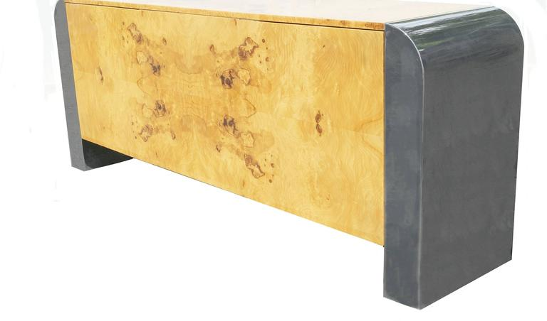 Pace Collection burl wood credenza, buffet or sideboard steel waterfall.