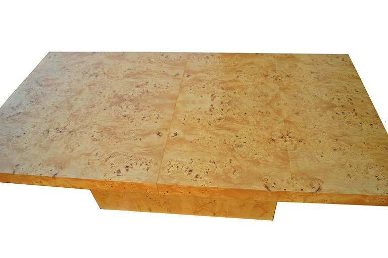 Mid-Century Modern Milo Baughman Expandable Burl Wood Dining Conference Table Wood For Sale